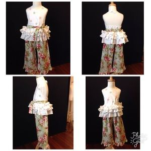 Other - Custom One of a Kind floral Polkadot Girls set 3T